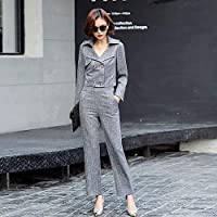 XuBa New Office Lady Suit Women Double Breasted Big Lapel Slim fit Short Blazer with Elastic Waist Pants