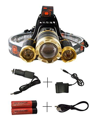 DAN 6000ルーメン LEDヘッドライト CREE XM-L 3*T6 4点灯モード ブーム式 90°調節 IPX4防水 18650電池2本付き 軽量 防災 登山 夜釣り ハイキング キャンプ (金色)