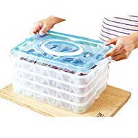 IWELY 餃子 ワンタンの収納ボックス 冷凍餃子ワンタン箱 冷蔵ボックス キッチン収納 ギョウザ ワンタン 4層 大容量 冷蔵庫 電子レンジ対応 72個入れ 主婦 家庭 業務用