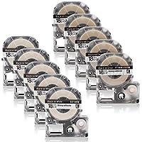 キングジム 透明地・5本 + 白地・5本 ST18KW SS18KW 18mm幅テープ 10本セット 互換 テプラ テープ PRO機種対応 永久保証【ABColor】(18mm 透明地*5本 + 白地*5本)