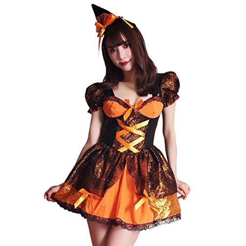 ブライトララ コスチューム パンプキン ハロウィン コスプレ衣装 かぼちゃ キュート 仮装 レディース kp0013or-L