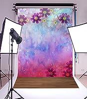 5x 7ft写真バックドロップNice木製床と美しい植物パターンビニール背景Studio小道具 6x9ft JLSW00197I