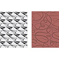 Sizzix Texture Fades A2 Embossing Folders 2/Pkg-Paper Airplane/Dotted Line By Tim Holtz by Sizzix