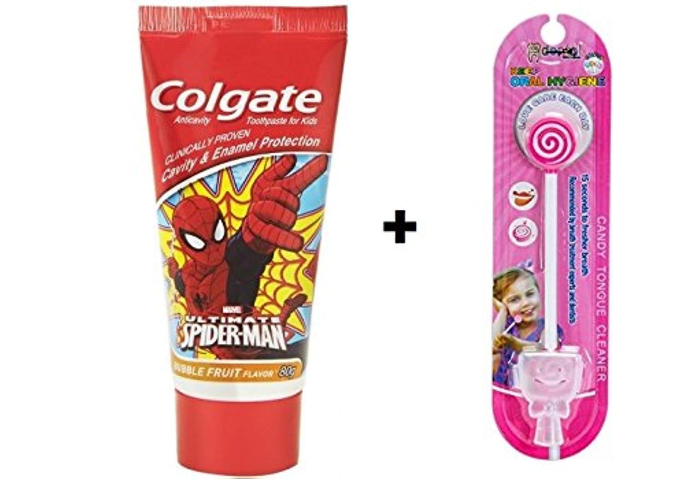 慈悲深いバケツ圧縮Colgate Kids Spiderman Toothpaste - 80 g + Kids lollipop Tongue Cleaner (Combo Pack )