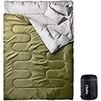 Ohuhu 寝袋 封筒型 2人用 防水 シュラフ 丸洗いok 連結可能 最低使用温度 -5度 黒/緑/紅/青 選択可 車中泊 登山 キャンプ 枕二つ付き 収納パック付