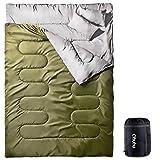 Ohuhu 寝袋 2人用 封筒型 丸洗いok シュラフ 連結可能 最低使用温度 -5度 枕付き