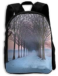 FIDALJF 裸の木と白の雪の子供用バックパック 小児用スクールバッグ 調節可能な肩 人間工学に基づいたバックパッド 学校、セキュリティ、スポーツイベントに最適