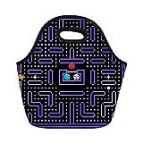 男性の女性のためのランチトートバッグ80S 8ビットの画素レトロなアーケードゲームの古いビデオの再利用可能なネオプレン絶縁熱屋外ピクニック弁当 [並行輸入品]