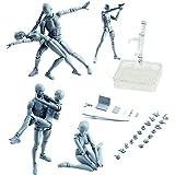 アクションフィギュアボディくんDX&ボディちゃんDX PVCフィギュアモデルデッサン Figures アーティスト用ボックス付き (グレー, 男性+女性)