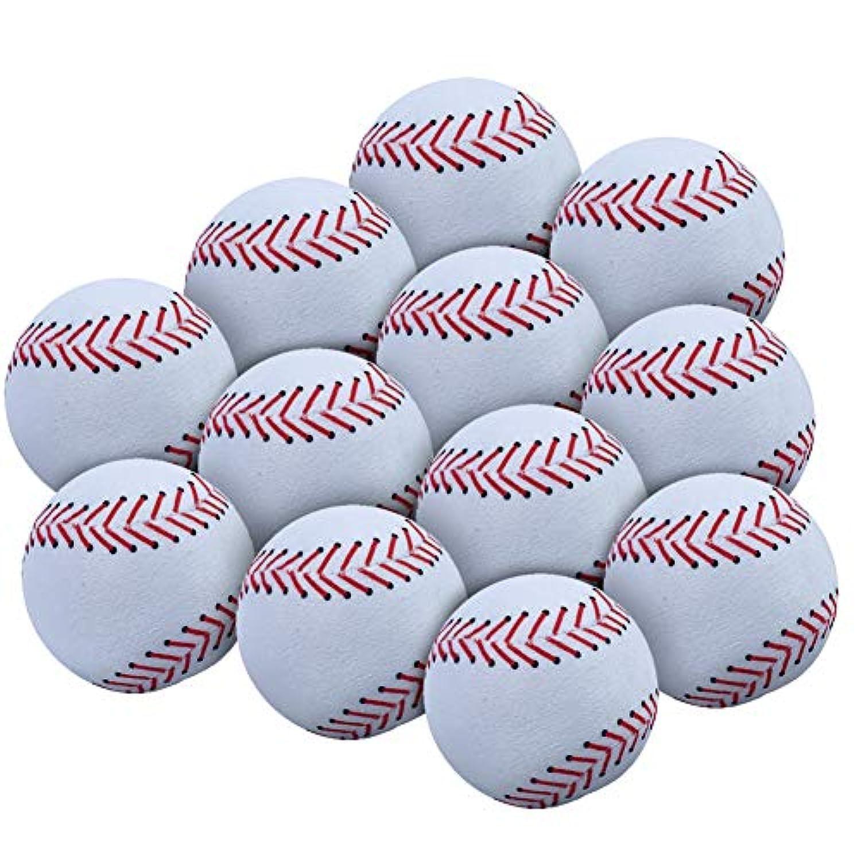 WOWMAX Toy 野球用ぬいぐるみ ふわふわ スポーツボール ソフト 耐久性 スポーツおもちゃ ギフト 子供用 3インチ ホワイト 12個セット