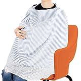 YaFex 授乳ケープ 大きめサイズ 上質 ポンチョ型 出産祝い コットン生地 360度安心の 調節可能 通気性抜群 多機能 授乳カバー ボーダー スリム 母乳育児サポート フリーサイズ 収納袋付き