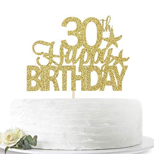 グリッターゴールド Happy 30th Birthday ケーキトッパー Hello 30 30歳のお誕生日パーティーサインデコレーション