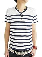 (アーケード) ARCADE 16color メンズ 春 夏 半袖 7分袖 Vネック ボーダー Tシャツ カットソー