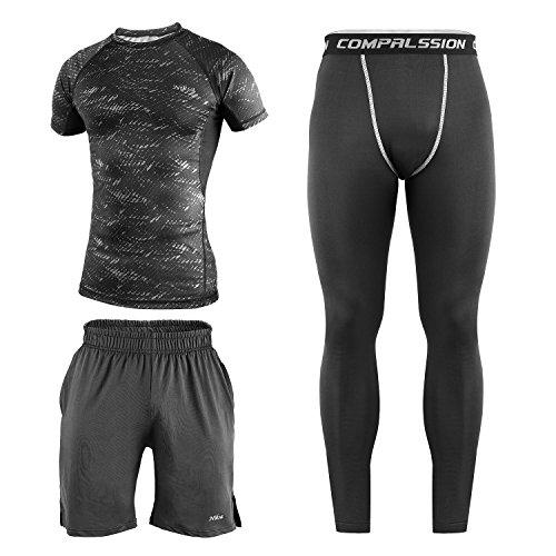 Niksa コンプレッションウェアー メンズ スポーツウェア スポーツシャツ 半袖 ラウンドネック 吸汗速乾 3点セット (L, グレー) [並行輸入品]