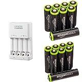 Amazonベーシック 充電式ニッケル水素電池 充電器セット 単3形充電池8個+単4形充電池8個パック付