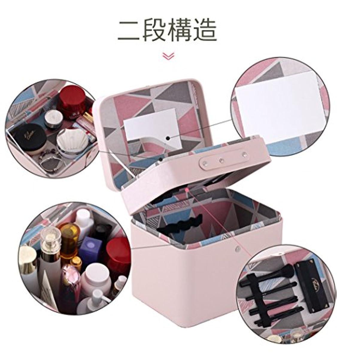 潜む突き出すファンタジーSZTulip メイクボックス コスメボックス 大容量収納ケース メイクブラシ化粧道具 小物入れ 鏡付き 化粧品収納ボックス (ピンク)