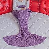 Neify - 大人の子供のためのスケートニットのかぎ針編みの人魚のテールブランケット誕生日のクリスマス感謝祭のギフトのためのスーパーウォームソフトオールシーズンスリーピングバッグサイズ:180 * 90 cm / 70.86インチ* 35.43 in ( Color : Purple )