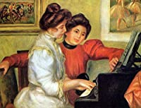 ¥5K-200k 手書き-キャンバスの油絵 - 美術大学の先生直筆 - 18 名画 - yvonne christine lerolle playing piano Renoir ピエール=オーギュスト・ルノワール - 絵画 洋画 手描複製画 -06