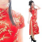 (アリカ)ARIKA チャイナドレス ロング チャイナ服 コスプレ セクシー ワンピース 花模様 (M, 赤)
