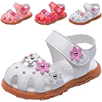 DADAWEN Girl's Summer Closed-Toe Solid Flower Outdoor Casual Sandals (Toddler/Little Kid)