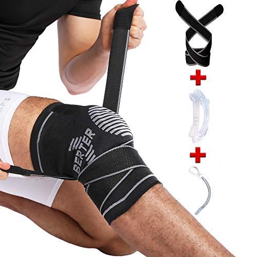 BERTER 膝サポーター スポーツ 神器の保護 関節 靭帯 筋肉 損傷回復 膝の衝撃保護 通気性 伸縮性 左右男女兼用 バスケ サッカー アウトドア運動保護 怪我防止 S-XL