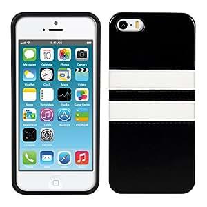 kwmobile 人工皮革 TPUシリコンケース 二色ストライプデザイン Apple iPhone SE / 5 / 5S用 白色黒色 - ヒップなうえトップファッションスタイル