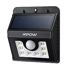 Mpow 8 LED センサーライト ソーラーライト 玄関ライト ワイヤレス人感センサー 外灯 屋外照明 軒先 壁掛け 庭先 玄関周りなど対応 夜間自動点灯 (改良版)