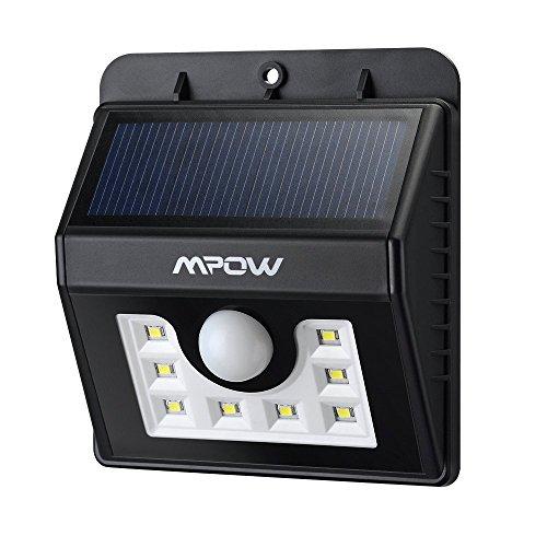 Mpow 8 LED ソーラーライト 玄関ライト ワイヤレス人感センサー 外灯 センサーライト 屋外照明/軒先/壁掛け/庭先/玄関周りなど対応 夜間自動点灯 (改良版)