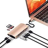 Satechi V2 マルチ USB ハブ Type-C パススルー充電 4K HDMI出力 カードリーダー USB3.0ポートx3 (ゴールド)