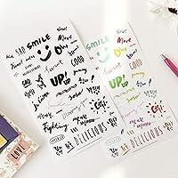 Odissys 新しい韓国おかしい色アートフォント飾りPVCステッカー/透明な英語の単語のステッカー/漫画DIY電話ステッカー