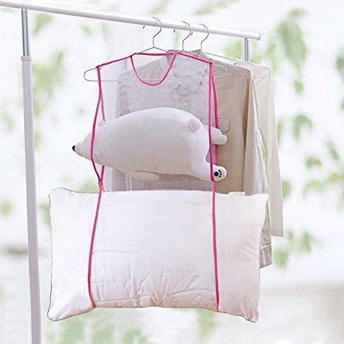 MANLERSPORT 物干しネット 洗濯干しネット 枕干しネット/ハンガー 枕、ぬいぐるみ、靴に最適 折りたたみやすい 梅雨時期 (ピンク)