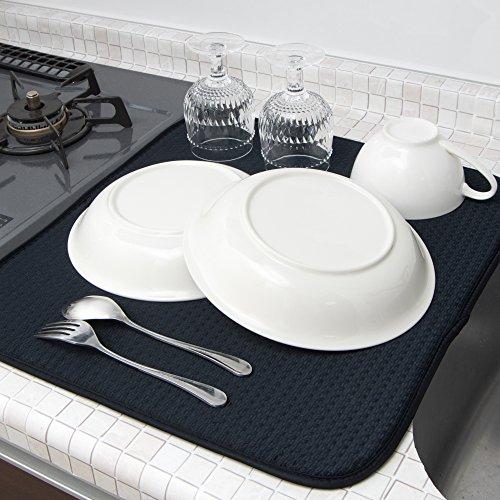 mikketa 水切りマット キッチン 食器 大判 速乾 吸水 ブラック 【全8色】