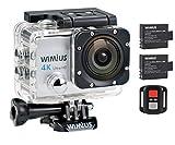 WIMIUS 4K アクションカメラ WIFI 防水 リモコン付き 2.0インチ液晶 1600万画素 高画質 ウェアラブルカメラ ドライブレコーダー