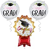 卒業パーティー用卒業バルーン 2019年 - 卒業おめでとう2頭のバルーン | 卒業式用バルーン | 卒業式用アルミマイラーバルーン | ブラック レッド ピンク