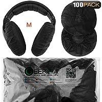 ヘッドホンカバー不織布 防塵 大型のヘッドホン用(100ペア)ブラック