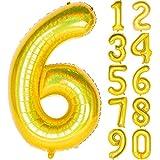 Angel&tribe 数字型風船 101.6cm/40インチ ナンバー 0~9 レーザーゴールド 誕生日パーティー飾り付け ヘリウムガス対応 ホイル マイラーバルーン 数字6 レーザーゴールド