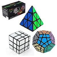 3- Pack Populerスピードキューブパズル–含まPyraminx Speedcubingブラックパズル、MegaminxスピードCubeパズルandシルバーブラックミラースピードキューブ