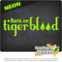 Tigerbloodで走る Runs on Tigerblood 20cm x 7cm 15色 - ネオン+クロム! ステッカービニールオートバイ