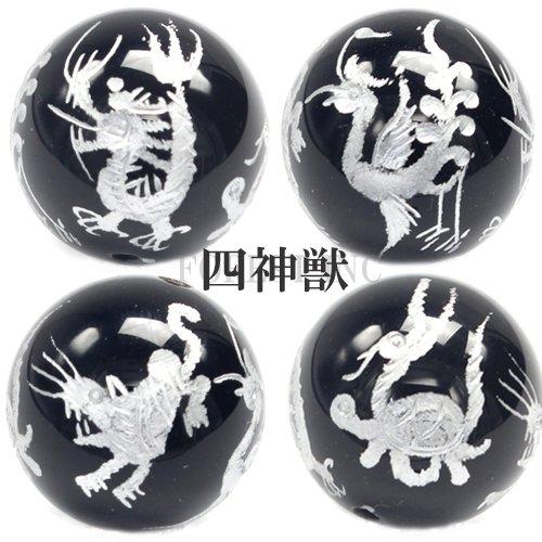[해외]천연석 오닉스 실버 조각 사면 사신 짐승 비즈 곡물 판매/Natural Stone Onyx Silver Engraved Four-sided Four God Beast Grain Selling