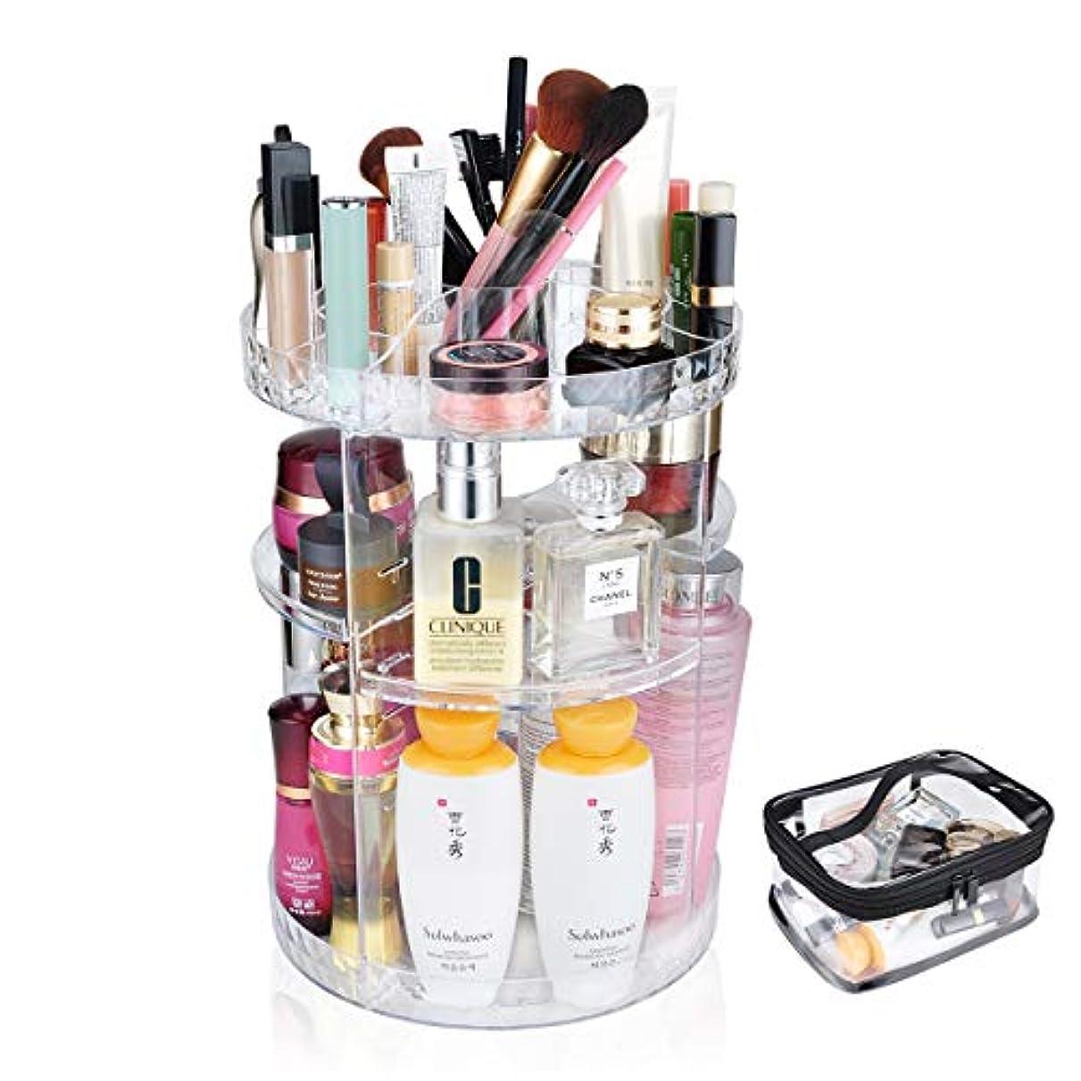 練るゆるくオーロック化粧品収納ボックス 360度回転コスメボックス コスメ収納ラックスタンド整理 大容量透明メイクボックス