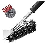 Rwm Grill Brush, BBQ Grill Cleaning Brush 18 inch Stainless Steel 3-in-1 Wire Bristle Barbecue Brush Cleaner with Scraper for Weber Gas/Charcoal Grill