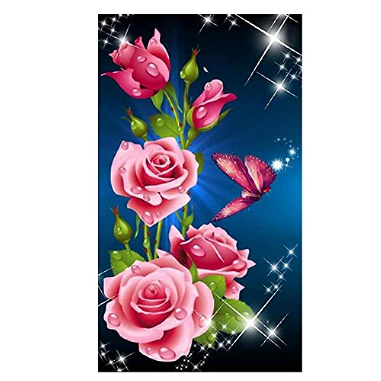 Demiawaking 5D ダイヤモンド絵画セット クロスステッチ 咲いている薔薇 樹脂ラインストーン 貼れる インテリア装飾 30 x 53cm