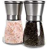 Noosa Life | Salt and Pepper Grinder Set - Premium Stainless Steel | Salt and Pepper Shakers with Adjustable Coarseness | Salt Grinders and Pepper Mill Shaker Mills Set