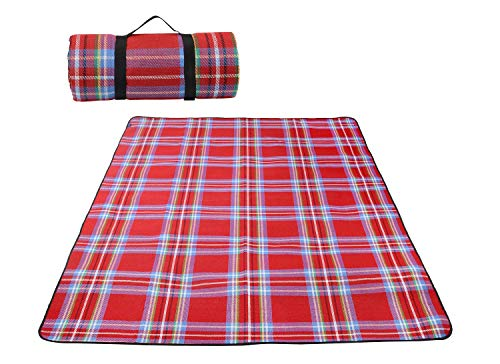 Doublesail レジャーシート ピクニックマット 軽量 厚手 折りたたみ 6人~8人用 防水 洗える ハンドキャリー (レッドチェック2)