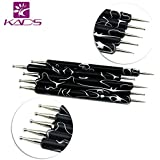 KADS ドットペンネイル ネイルデザインペン/点描ツール 2WAY用 ドット棒 ネイルデコペン ネイルアート装飾ペン 5本/セット(サイズ1)