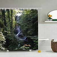 水は少し深いシャワーカーテン HDデジタル印刷 ポリエステル100%防水材質 カーテンリング付属