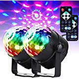 Yoken ステージライト 舞台照明 ミラーボール ディスコライト パーティーライト クリスタル 電球 リモコン操作 音声制御 回転ライト クラブ バー照明用ライト イベント 文化祭 KTV パーティー用 多機能 LEDライト(2個入)