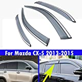 4 pcs車の窓のトリムストリップ車の窓レインアイブロウレインシェード適し For Mazda CX-5 CX5 2013 2014 2015