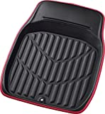 ボンフォーム カーマット バケットマット 前席用 3Dレザーマット ブラックXレッド フロント1枚 48X65cm 普通車用 6416-01RE