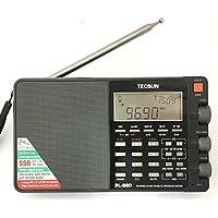 TECSUN PL-880 ブラック FM/MW/SW/LW/PLL 短波ラジオ 100VAC-USBアダプター/日本語版説明書付属